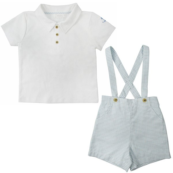 画像1: ANCHOR POLO SHIRT/BLUE CHECKERED BRACED SHORTS (1)