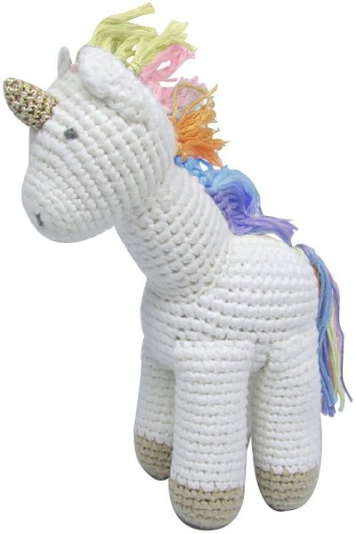 画像1: CROCHET RAINBOW UNICORN RATTLE TOY (1)