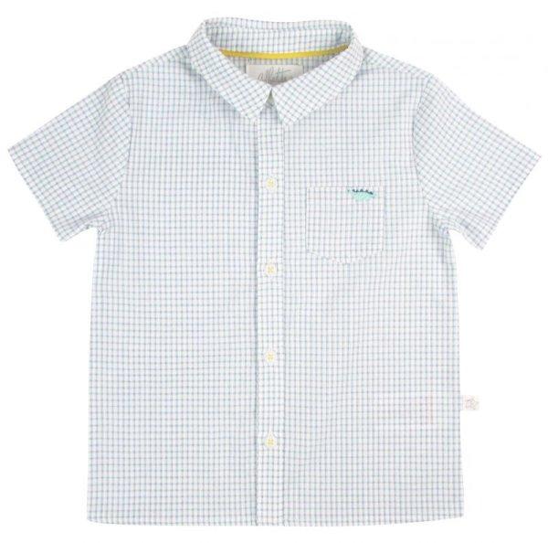 画像1: ブルーチェックキョウリュウシャツ (1)