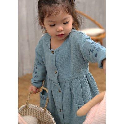 画像1: ティールモスリンの刺繍ドレス